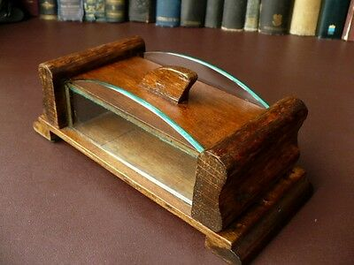 Art Deco Shed Made Card Case/Box With Shaped Glass Sides