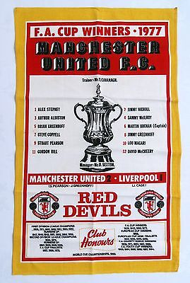 Man Utd Vintage Tea Towel 1977 FA Cup Final Winners Manchester United