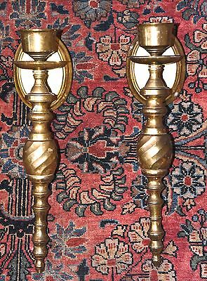 """Heavy Vintage Brass Wall Sconce Pair Taper Twist India Gatco Candle Holder 14"""" L"""