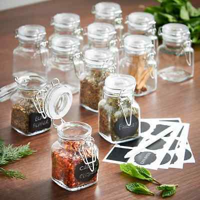 Kitchen Storage Jars Set of 12 Airtight Food Spice Glass Containers Make Gifts