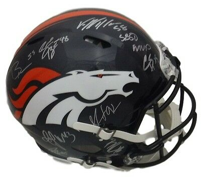 Denver Broncos Signed Sb 50 Defense Fs Speed Proline Helmet (10 Sigs) 19039 Jsa