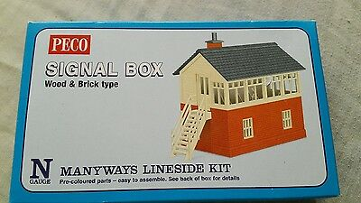 A model railway plastic kit by peco for N gauge of a signal box