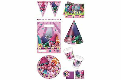 Trolls Dream Works Birthday Party Tableware Cups Plates Napkins Tablecover Bags
