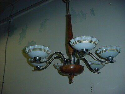 VINTAGE MCM 6 ARM CHANDELIER w/ART GLASS SHADES~CHROME/BURLED WOOD~RE-WIRED