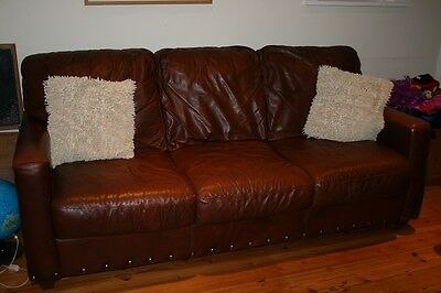 Large leather sofa, settee, brown/burgundy, good condition