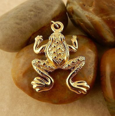 22k gold plated 3D Leaping Frog charm