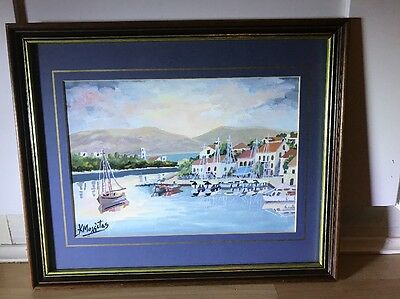 Beautiful Signed Watercolour Painting Of Harbour Scene In Wood Frame