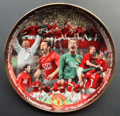 Man Utd 2008 Champions Of Europe Danbury Mint Plate Manchester United COA Box