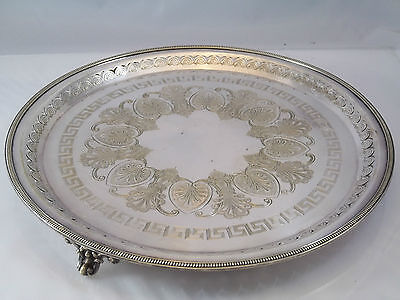 Lovely Silver Plated English Footed Salver Greek Key Pierced Border Round Tray