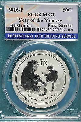 2016-P Pcgs Ms70 Australia Year Of The Monkey 1/2Oz Coin!!! #A4100