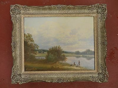 Andrew Grant Kurtis,  Original Oil On Canvas - Landscape With Boys Fishing