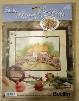 BUCILLA silk ribbon embroidery kit. Touch of silk collection. English Cottage