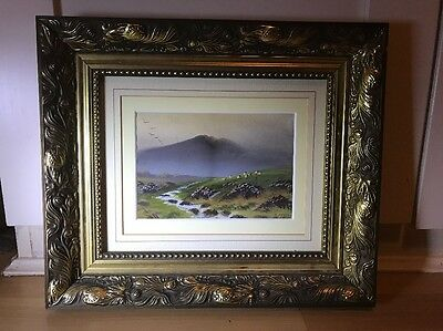 Beautiful Signed 1930's Watercolour Painting Of Landscape In Ornate Gold Frame
