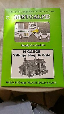 A model railway card kit in N gauge by metcalfe of a village shop and cafe