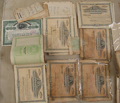 Antique100 Superior And Nevada Gold Mining Certificates & Correspondence