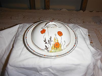 crown ducal poppy round butter dish