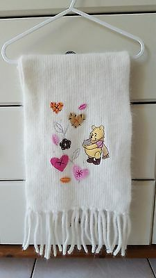 Disney Store Exclusive Genuine Angora/Wool Winnie The Pooh Embroidered Scarf