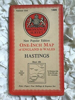 """Collectable Vintage OS Ordnance Survey One Inch 1"""" Map Sheet No 184 Hastings"""