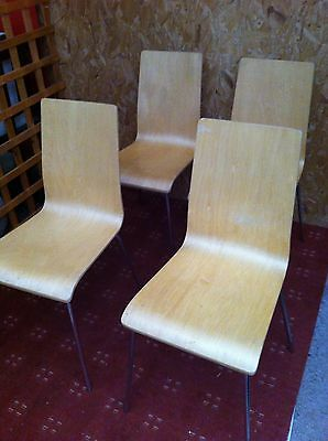 Vintage - Retro set of 4 Beech Dining Chairs - Chrome Legs - Painting Project??