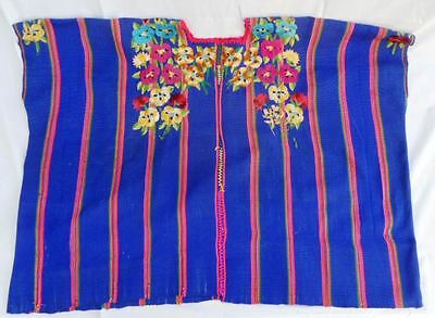 Vintage Guatemalan Huipil from Patzun - Blue with Embroidered Pansies