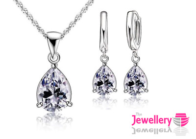 925 Silver Plated Peardrop Clear Crystal Pendant Necklace & Earring Womens Set