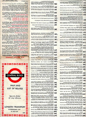 London Transport CENTRAL BUSES 1969 Bus Map & List of Routes,