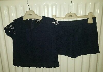 Girls Next navy lace 2 piece party outfit age 6 years