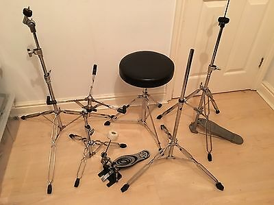 Drum Hardware Set 6 Pieces Stool, Snare, 2 Cymbal, Hi Hat And Bass Drum Pedal 1