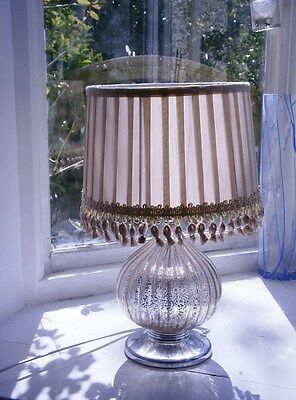 Beautiful Silver Mercury Glass Effect Table Lamp/light W/ Shade (Pair Available)