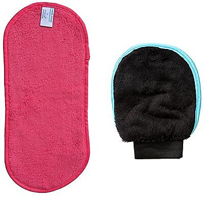 PINK CHEM FREE Makeup Remover Set - Facial Cleansing Cloth & Exfoliation Glove -