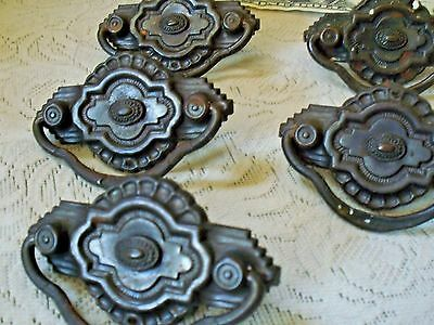 "drawer pulls art deco hardware ornate 5 pressed tin backing screw 2 3/4"" W x 2""T"
