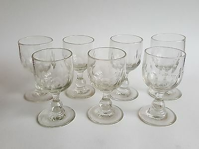 Set of 7 Victorian Thumbprint cut glass Rummers