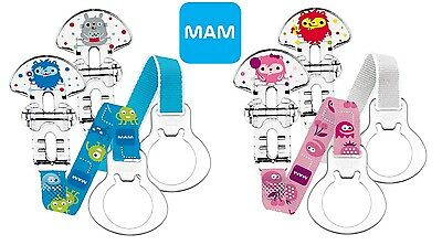 MAM Monster Mummy and Daddy Soother Clips (2 Pack), Dummy Clips/Holders