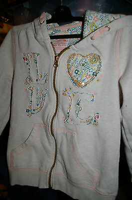 Girl's Hoodie, embroidered, zip through, by The Knit Factory Age 7 years