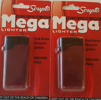 2 Electronic Scripto Lighters Mega Color Wine Red. New Wide Body new