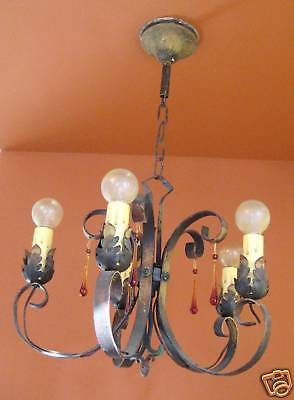 Vintage Lighting antique 1920s polychrome chandelier   Amber Glass Drops
