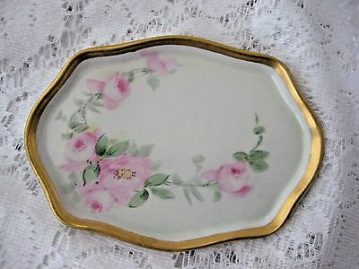 Beautiful Limoges France Pin Tray Pink Roses Gold