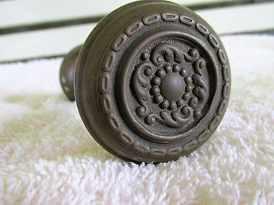 Antique Victorian Patterned Brass Door Knob Set Architectural Salvage