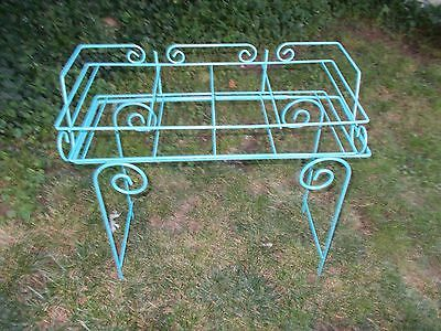 BLUE Vintage Wrought Iron Vanity - Make-Up Table - Desk - Needs Top  MID CENTURY