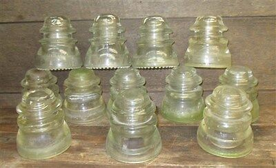 12 Assorted Hemingray Glass Electric Telephone Pole Insulators Clear Vintage ab