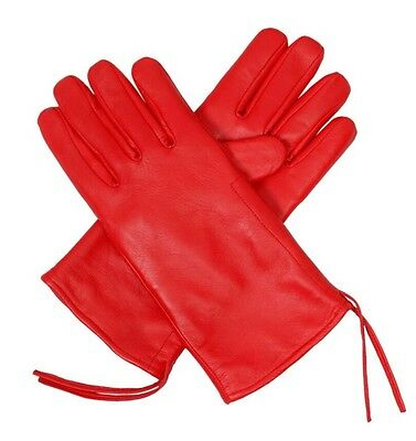 Ladies Genuine Soft Leather Gloves Inner Fleece Lining Red ***free delivery***
