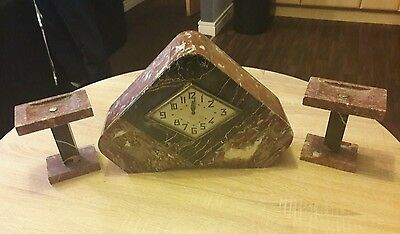 French Art Deco Triangle Marble Clock with Garnitures