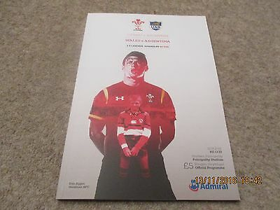 Wales v Argentina Saturday 12th November 2016 Under Armour Series Programme.