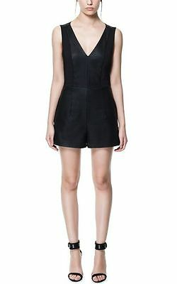 Zara Black Faux Leather Playsuit Size M Worn Once
