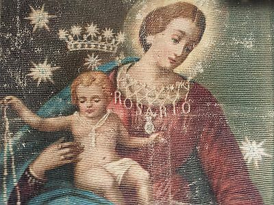 Antique Italian Church Banner Ave Maria. Hand Painted Oleograph. 19th Century.