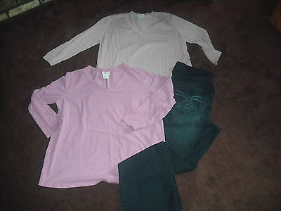 Womens Lot 3 Motherhood Maternity Top Sweater Jeans Size XL Extra Large Nice