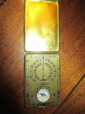 1920 Ansonia Clock Co. Sunwatch; pocket sundial/compass in brass; unusual piece