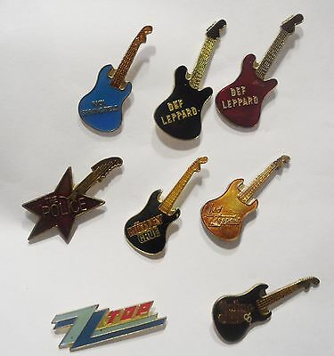 Eight Old Collectible Rock Band Guitar Pins