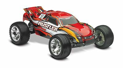 Traxxas Rustler 1/10 Stadium Truck, Red, RTR w/ID Battery & 4 Amp DC Charger