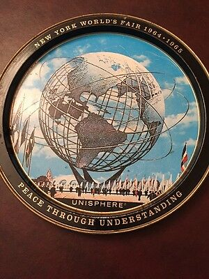 1964-1965 New York Worlds Fair Tin Metal Plate Platter Tray Collectible